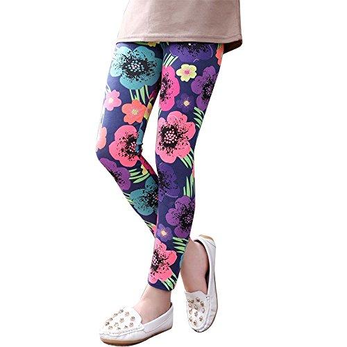OVERMAL Mädchen Leggings Hosen Mädchen Skinny Blumen Drucken Hosen Stretch Mädchen Slim Bleistift Hosen (8-9 Jahre, Dunkelblau) (Mädchen Skinny-jeans 4t)