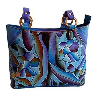 HandicraftsvillaUK Frauen Handgemalt Blumen Designer modisch Echtes Rindsleder Damen Handtasche Taschengeldbörse