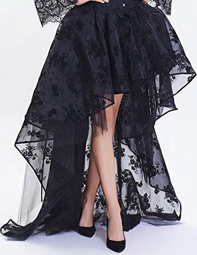 EmilyLe Donne Lace Gothic Steampunk nero Alto Basso vestito operato corsetto del merletto partito Gonna Nero