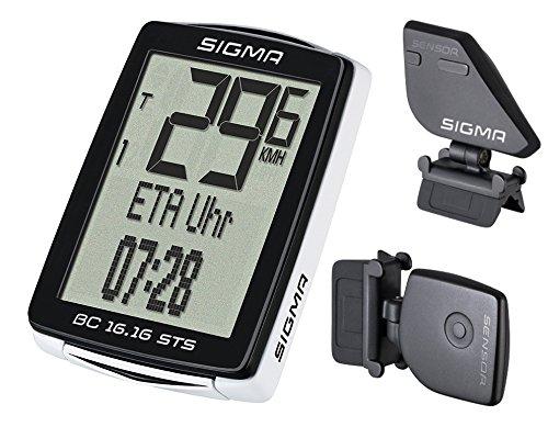 Sigma Sport Fahrrad Computer BC 16.16 STS CAD, 16 Funktionen, Ankunftsanzeige, Kabelloser Fahrradtacho, Schwarz (Fahrrad Computer Mit Trittfrequenz)
