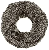 TOM TAILOR Damen Tuch Leopard Print tube/407, Grau (Moon Grey 8436), One Size (Herstellergröße: OneSize)