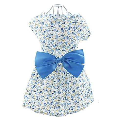Lanlan Stilvolle Pet Floral Print Princess Sommer Kleidung Kleid mit Schmetterling Schleife Baumwolle Rock für Hunde Puppy, blau