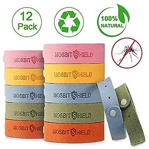 Nasharia Mückenschutz Armband, 12 Stück Superfiber Pflanze Anti Mosquito Armband, Reusable Repellent Wristband, Sicheres Deef-Freies und Wasserdichtes, für Kinder und Erwachsene, Camping und Reise.