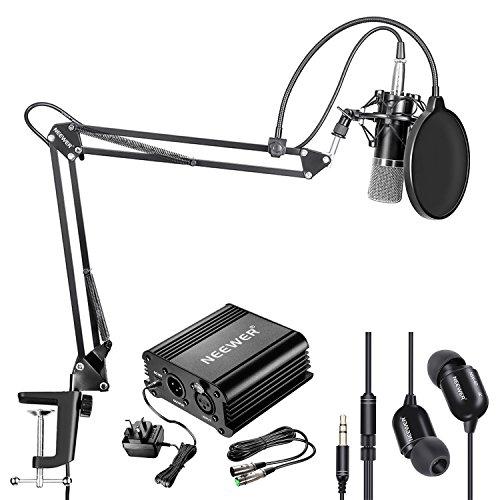 Neewer nw-700Kondensator Mikrofon und Monitor Kopfhörer-Set mit 48V PHANTOM Netzteil, nw-35Boom Scissor Arm Ständer, Shock Mount und Pop Filter für Home Studio Sound Recording (schwarz) - Scissor Arm Stand Mic