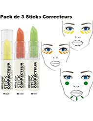 Miss Cop Cover Stick - 3 Correcteurs de Teint Sticks Jaune Orange Vert - Masque les Cernes, les taches brunes et toutes les imperfections !!! ( Pack de 3 Couleurs )
