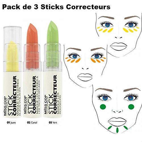 Lote de3correctores en barra, reducen las imperfecciones, color amarillo, naranja y verde -