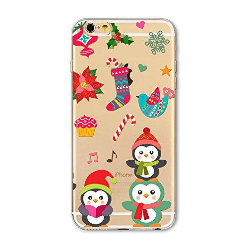 Weihnachten Hülle für iPhone 7 Plus / iPhone 8 Plus MOONMINI Ultra Dünn Weihnachten Dekoration Weiche TPU Silikon Full Body Schutz Rückseite Transparent Schutzhülle Shell für iPhone 7 Plus / iPhone 8  Christmas Penguin