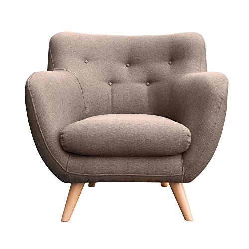 myHomery Sessel Adele gepolstert - Polsterstuhl für Esszimmer & Wohnzimmer - Lounge Sessel mit Armlehnen - Eleganter Retro Stuhl aus Stoff mit Holz Füßen - Braun | Sessel - Lounge-sessel Home