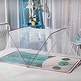 XIAOLI&& Kinderbett Moskitonetz Baby Faltbare Installation Kind Moskitonetzabdeckung mit Halterung, Pink, 68×125cm
