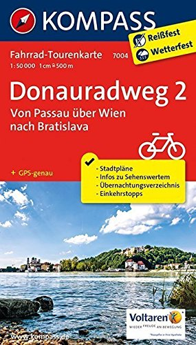 Donauradweg 2, Von Passau über Wien nach Bratislava: Fahrrad-Tourenkarte. GPS-genau. 1:50000.: Fietsroutekaart 1:50 000 (KOMPASS-Fahrrad-Tourenkarten, Band 7004)