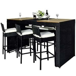 Outsunny® Polyrattan Gartenmöbel 13 tlg. Rattan Gartenset Bar Sitzgruppe Barhocker set Garnitur Bartisch inkl. Kissen