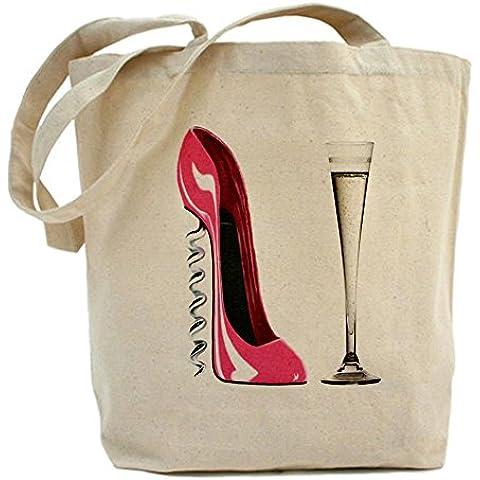 CafePress-Borsa, colore: rosa con motivo Champagne e cavatappi-Borsa