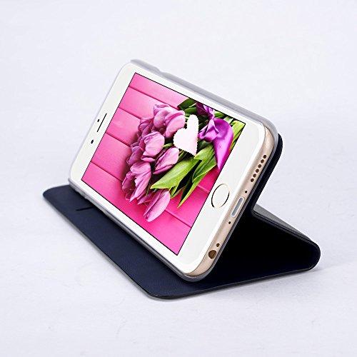 Apple iPhone 7 Hülle Case, slim Kunstleder Rundumschutz Handytasche mit transparenter Rückschale Book Style Klappetui Flip Cover (Schwarz) Schwarz