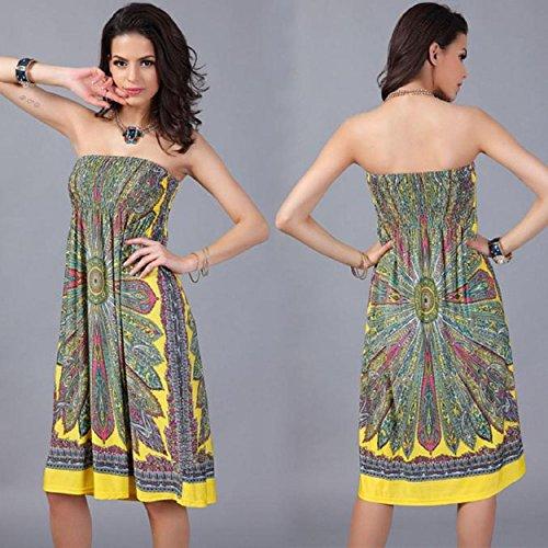 Yogogo Bohemian-Frauen-Kleid-Weinlese -Ropa Mujer Print-Strand-Sommer-Kleid Gelb