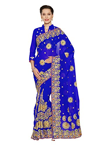SOURBH Women's Heavy Embroidered Wedding Bridal Saree with blouse piece (3794_Royal Blue)