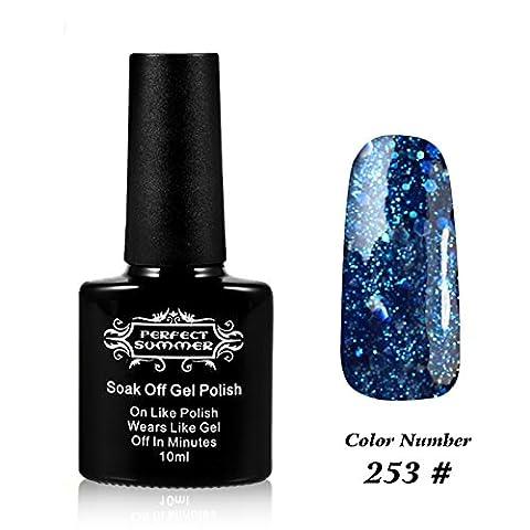 Perfect Summer 10ml Gel Nagellack schnell trocknend Glitter Schneeflocken Farben nett UV / LED-Nagellacke traenken weg #253