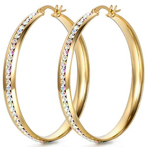 JewelryWe Schmuck Damen Ohrringe, große Kreis Edelstahl Strass Linie Creolen Ohrhänger, Durchmesser 45mm, Gold