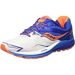 Saucony Ride 9, Zapatillas de Running para Hombre, Azul (White/Blue/Orange), 41 EU