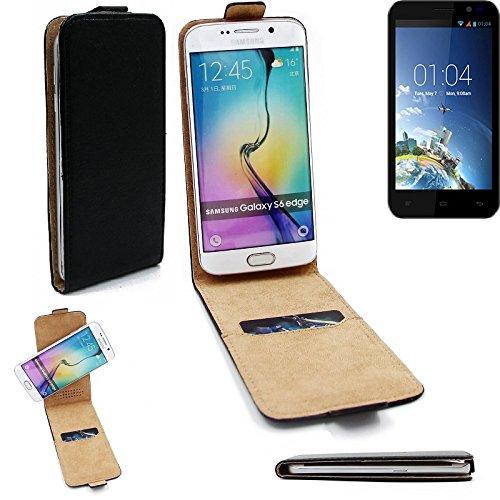 K-S-Trade® Für Kazam Tornado 2 5.0 Flipstyle Schutz Hülle 360° Smartphone Tasche, Schwarz, Case Flip Cover Für Kazam Tornado 2 5.0
