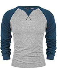 Coofandy Herren Langarmshirt Sweatshirt Freizeit Sport Pullover Loose Fit  Knotrastfarben mit 2-Tone Raglan f836871600
