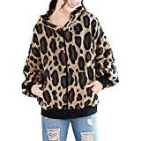 NPRADLA Women's 2018 Fashion Leopard Coat Winter Long-Sleeved Leopard Hooded Zipper Pocket Jacket