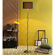 Black Drum Cotton Antique Gold Zig Zag Floor Lamp /Standing Lamp By New Era For Living Room /Drawing Room/Office/Bedroom/Decoration /Corner/Gift/Lobby