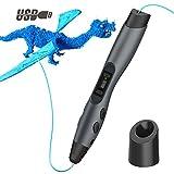 Tecboss 3D Stift, 3D Drucker Stifte mit LCD Anzeige, 8 Einstellbare Geschwindigkeit 3D Pen Kompatibel PLA und ABS Druckfilament für Kinder, Erwachsene, Schwarz
