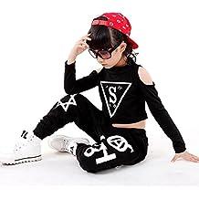 Volesenitm ragazze bambini moderno Jazz hip-hop Dancewear bambini costumi  danza top e pantaloni e8d62330e016
