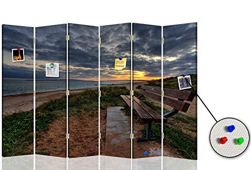 Feeby Separador con Corcho Paisaje 6 Paneles 360° Playa Mar Cielo Neg