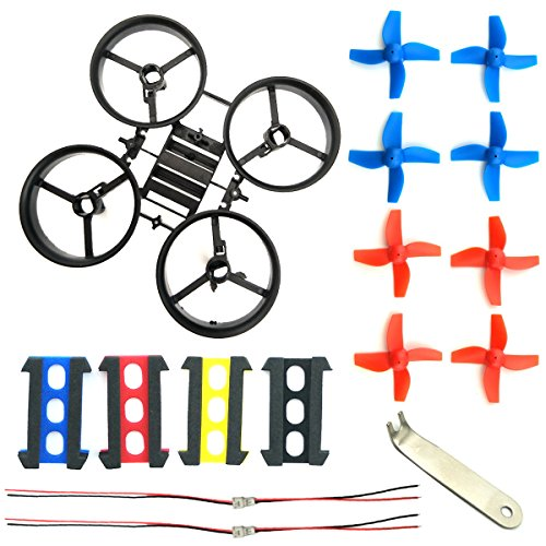 WOSKY RC Micro Quadcopter State Black and 8pcs 4-leaf Propellers Blue for H36 E010 Tiny Whoop FPV Drone Parts