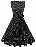 Gardenwed Damen 1950er Vintage Cocktailkleid Rockabilly Retro Schwingen Kleid Faltenrock Black Small White Dot S