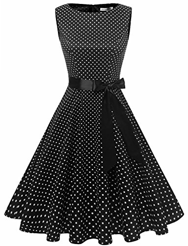 Gardenwed Damen Vintage 1950er Partykleid Rockabilly Ärmellos Retro Cocktailkleid Black Small White Dot M