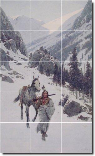HENRY FARNY INDIOS BACKSPLASH AZULEJO MURAL 24  24X 40CM CON (15) 8X 8AZULEJOS DE CERAMICA