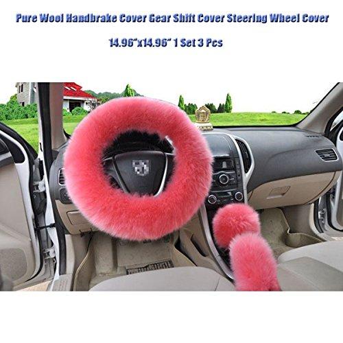 SMKJ 3er/Set Lenkradhülle Lenkrad Abdeckung Handbremse Hebel Abdeckung aus Lange Plüsch Weich Anti Rutsch Warm Lenkradabdeckung 38cm/15inch Universal für Auto Zubehör(Pink)