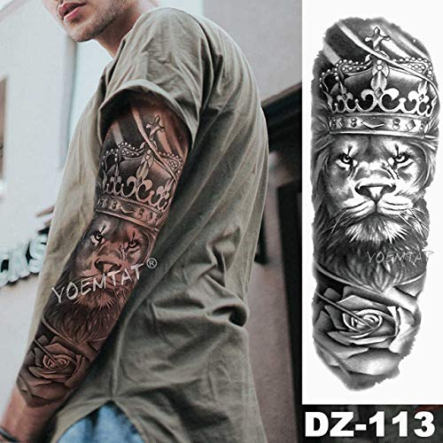 Tatuaje manga brazo grande León Corona Rosa Tatuaje