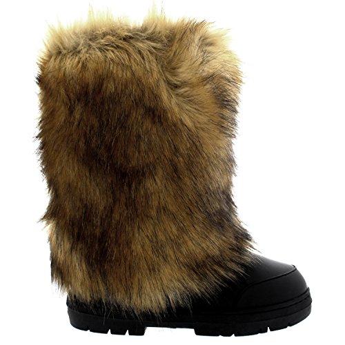 Femmes Grand Fourrure De Lapin Couvert Neige Pluie Imperméable Yeti Esquimau Hiver Bottes Noir Cuir