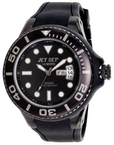 Jet Set - J5522B-23 - Wb30 Diver - Montre Homme - Quartz Analogique - Cadran Noir - Bracelet Caoutchouc Noir