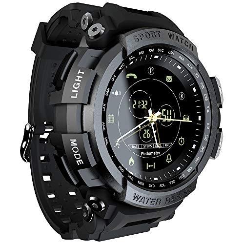 Grww ofd Sport Smart Watch Professional Bluetooth Impermeable Recordatorio de Llamada Reloj Digital para Hombres Reloj Inteligente para iOS y Android,Black