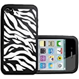 Yousave Accessories ap-ga01-z135�Silicone Gel Case for iPhone 4/4S Black/White Zebra