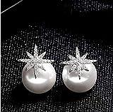 HLII Frauen Ohrringe Zirkon Silber 925 Nadel- Schneeflocke Pearl Schmuck Ohrringe
