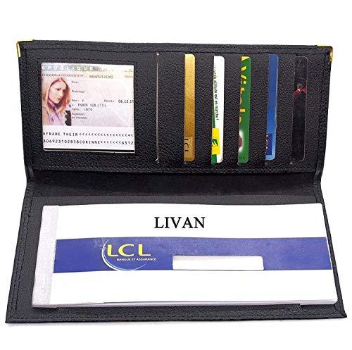 LIVAN - L712 - Porte chéquier Longue Double Talon Professionnel et Cartes Cuir Format Classique Grand modèle Homme Femm