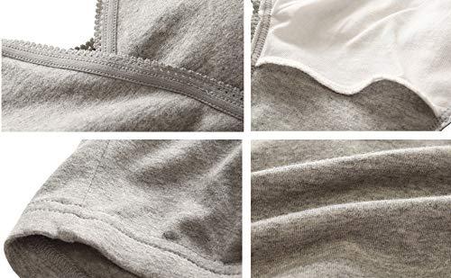Manci Baumwolle Still BH, Damen Schwangerschafts Still BH für Stillen und Schlaf (Schwarz + Grau + Blau, XL/38B,38C,38D) - 6