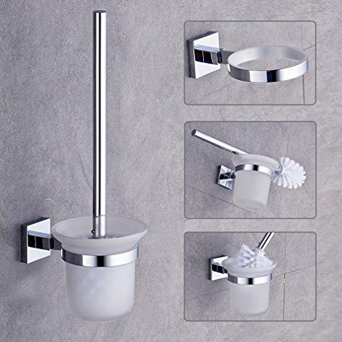 Auralum Toilettenbürstengarnitur WC Garnitur Toilettenbürste Bürste aus hochwertigem Kupfer Toilettenbürstenständer Klobürste Wandhalter