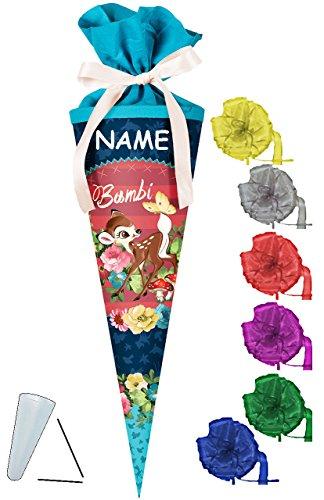 alles-meine.de GmbH Schultüte -  Disney - REH Bambi  - 50 cm - rund - incl. Namen und Schleife - mit Tüllabschluß - Zuckertüte - mit / ohne Kunststoff Spitze - für Jungen & Mäd..