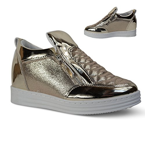 Damen Sneakers Keilabsatz Wedge Turnschuhe Slipper Runners ST829 Gold