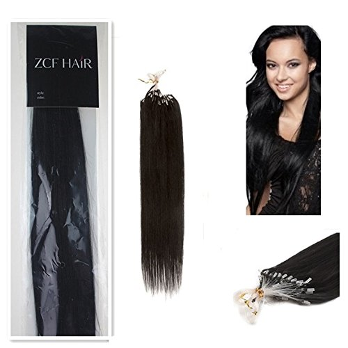 Style 16'' Easy Loops Micro Rings Beads Tipped 100% Real Human Hair Extensions Straight Hair Color 01 Jet Black Beauty Design Salon by COOL-BEAUTY