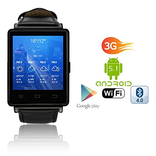 Indigi® 2017Android 5.13G Entsperrtes Smartwatch & Telefon WiFi + GPS (Karten) + Herzfrequenz Monitor + Google Play Store (Gsm Unlocked Quadband-handy)