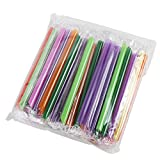 Kobwa(TM) Assorted Colors 50 Pcs Big Wide Bubble Tea Smoothie PE Straw with Kobwa