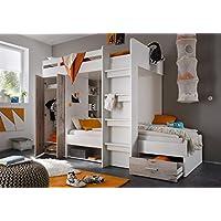 Etagenbett weiß / grau inkl Kleiderschrank + Schubkasten + Regale Hochbett Kinderbett Kinderzimmer Doppelbett Stockbett preisvergleich bei kinderzimmerdekopreise.eu