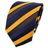 satin cravate en soie jaune jaune foncé jaune soleil bleu noir rayé - cravate en soie